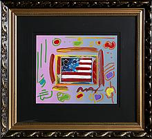 Peter Max, Flag with Heart, Mixed Media Painting