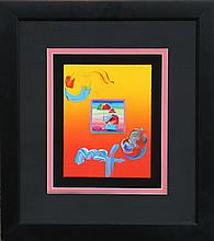 Peter Max, Umbrella Man, Acrylic and Collage Painting