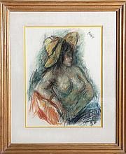 Robert Philipp, Nude in a Yellow Hat, Pastel Drawing