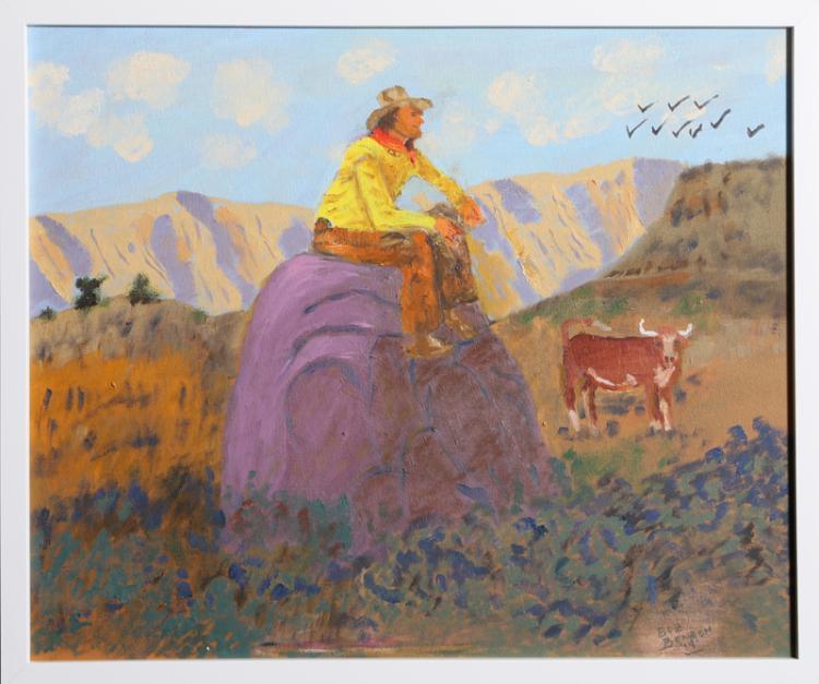 Robert Benach, Cowboy and Steer, Oil Painting