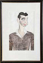 Julius Kroll, Man in Brown, Charcoal and Pastel Drawing