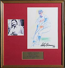 LeRoy Neiman, St. Louis Cardinals Baseball Player, Pastel Drawing with Photograph