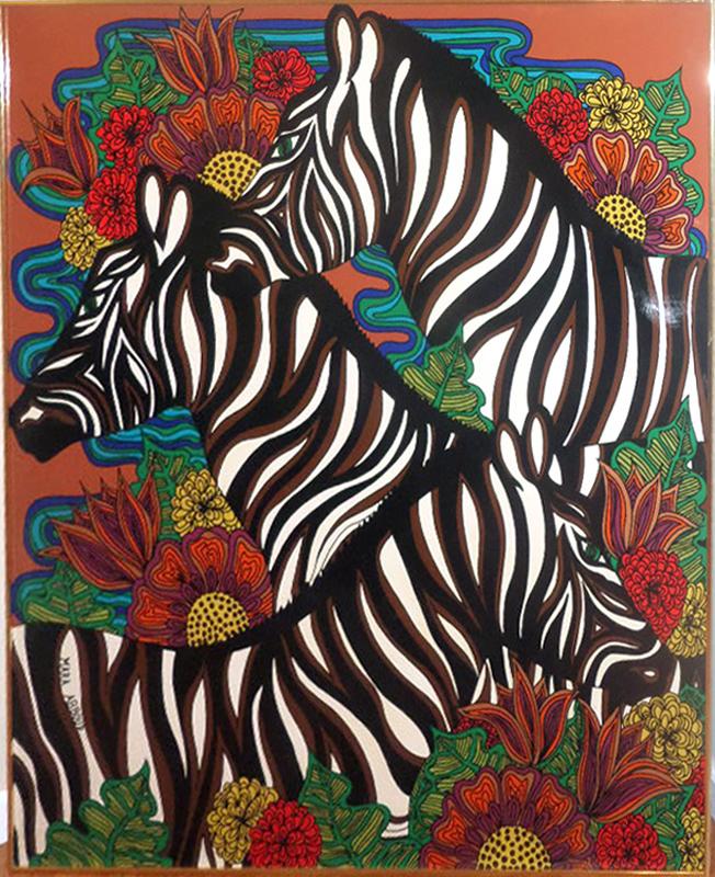 Mara Abboud, Zebras, Acrylic Painting