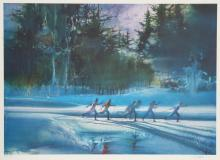 Robert Peak, Cross Country Skiing from the Visions of Gold Olympic Portfolio, Lithograph
