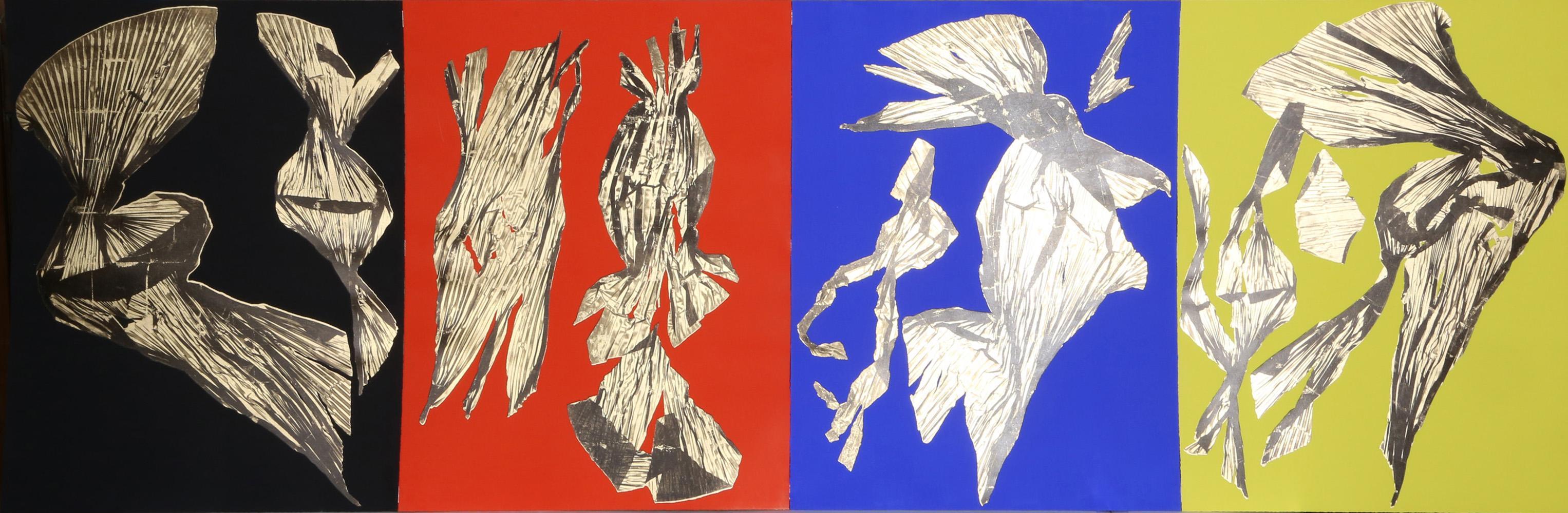 Lynda Benglis, Dual Nature (Quad), Four Lithographs with Gold Leaf