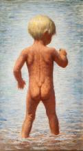 James Chapin, Boy in Water, Oil Painting