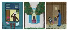 Rodolpho Tamanini Netto, II Lot of 3 Miniature Brazilian Folk Art Paintings