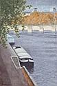 Laurent Marcel Salinas, Peniche a Aquai Devant le Pont des Arts, Oil Painting