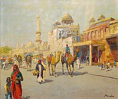 Jack Prudnikov, Middle Eastern Street Scene, Oil Painting