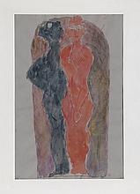 Ossip Zadkine, Two Figures, Watercolor Painting
