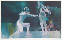 Robert Peak, Fencing from the Visions of Gold Olympic Portfolio, Lithograph