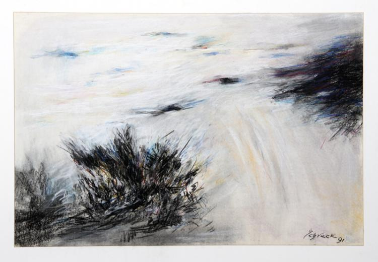 Michael Schreck, Windy Day, Pastel Drawing