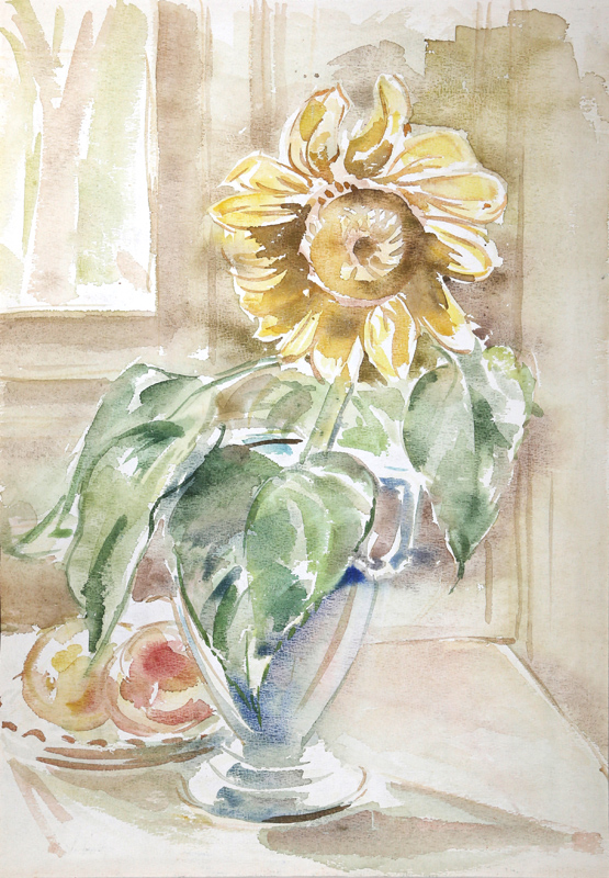 Charles Blaze Vukovich, Sunflower, Watercolor Painting