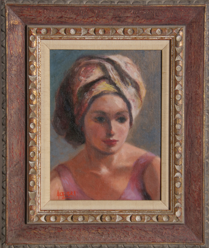 Philippe Alfieri, Portrait of Woman in Pink, Oil Painting
