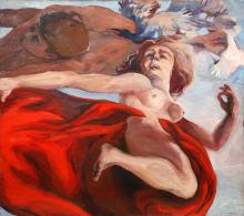 Jack Youngerman, Nude Couple with Birds I, Oil Painting