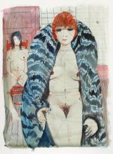 Charles Levier, Nudes in Fur II, Watercolor Painting