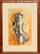 Madeleine Scellier, Nude Portrait 5, Watercolor