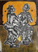 Mve Mve Jiyane, African Drummers 1, Mixed Media Painting