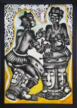 Mve Mve Jiyane, African Drummers 2, Mixed Media Painting