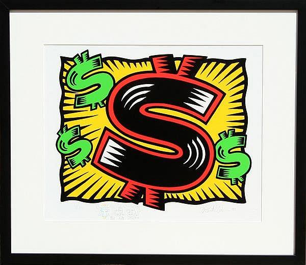Burton Morris, Dollar Sign, Silkscreen with Drawing
