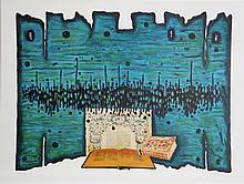 Moshe Elazar Castel, Prayer, Lithograph