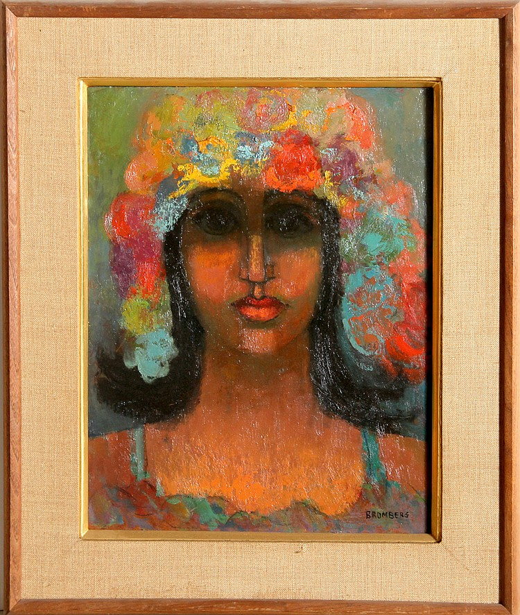 Miriam Bromberg, Portrait with Flower Hat, Oil Painting