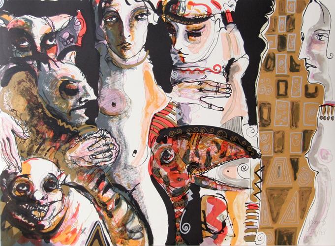 Juan Sebastian Barbera, Consipiracion from the Los Conjuros Suite, Lithograph