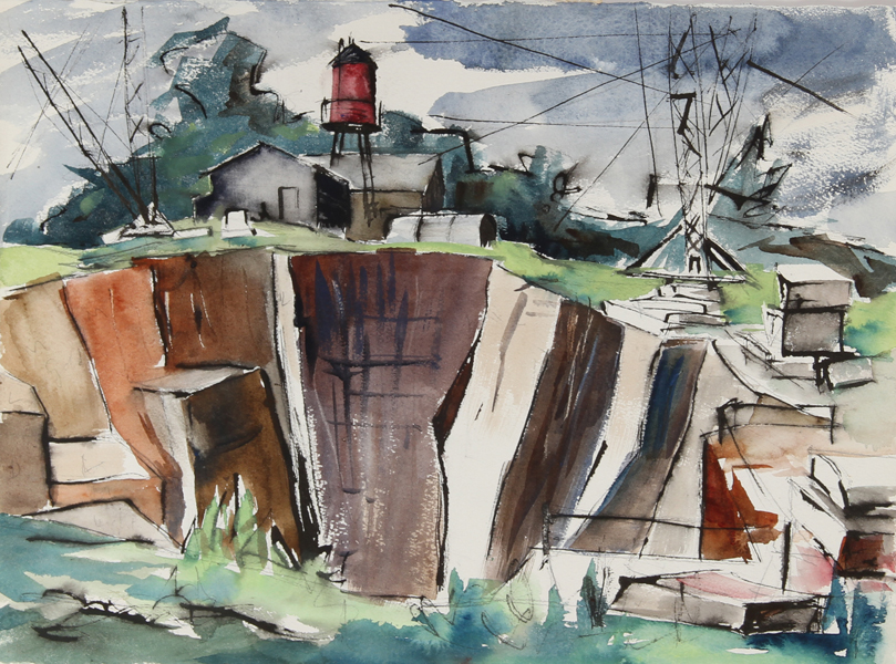 Eve Nethercott, The Granite Quarry, Maine (43), Watercolor