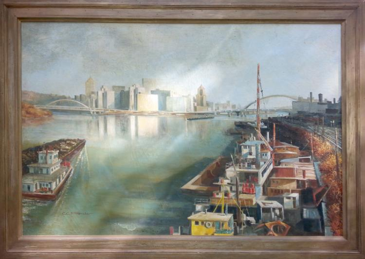 Charles Clinton Pitcher, Pittsburgh View, Allegheny and Ohio River, Oil Painting