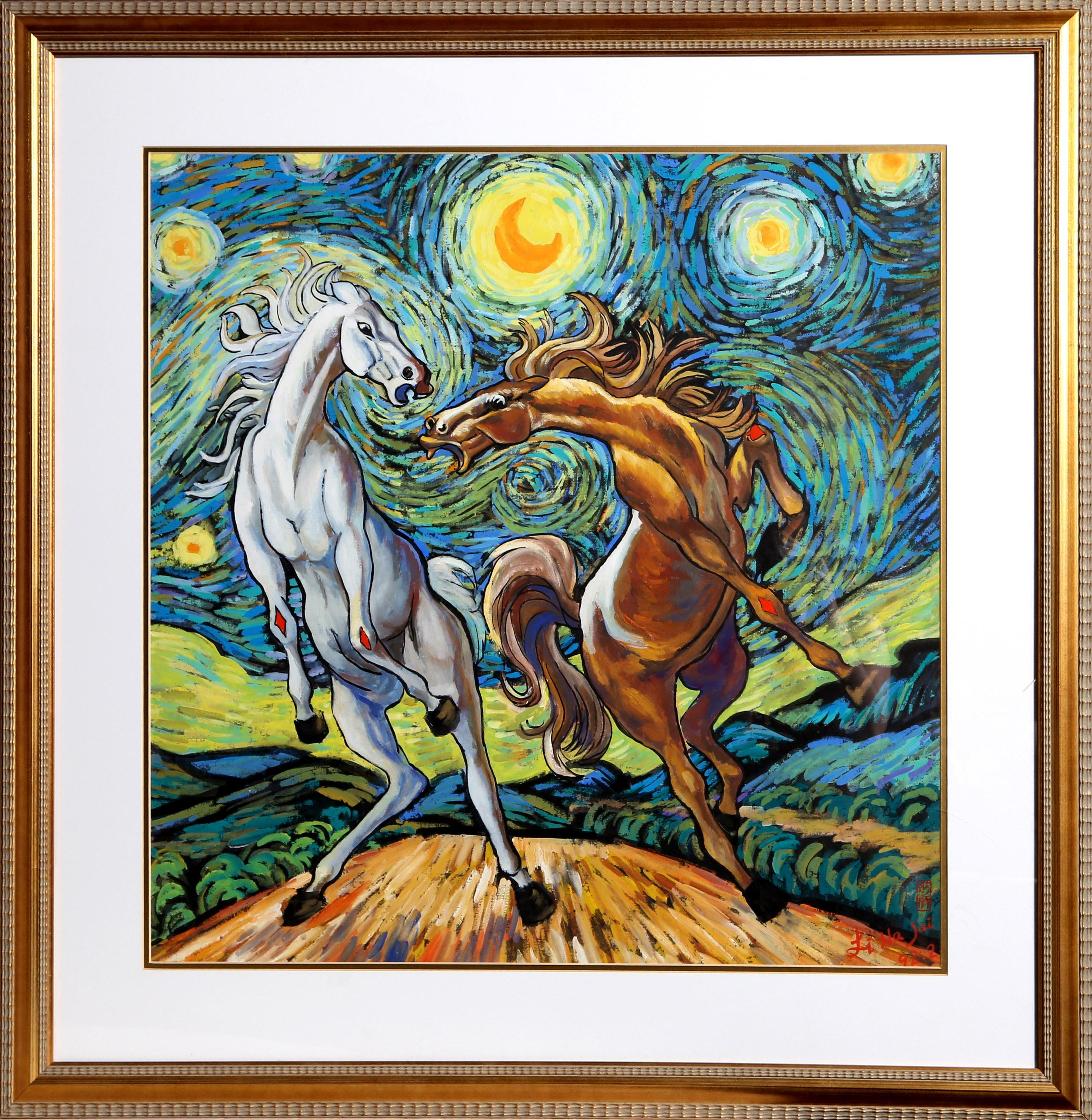 Li Na Jai, Starry Night Ponies, Gouache Painting