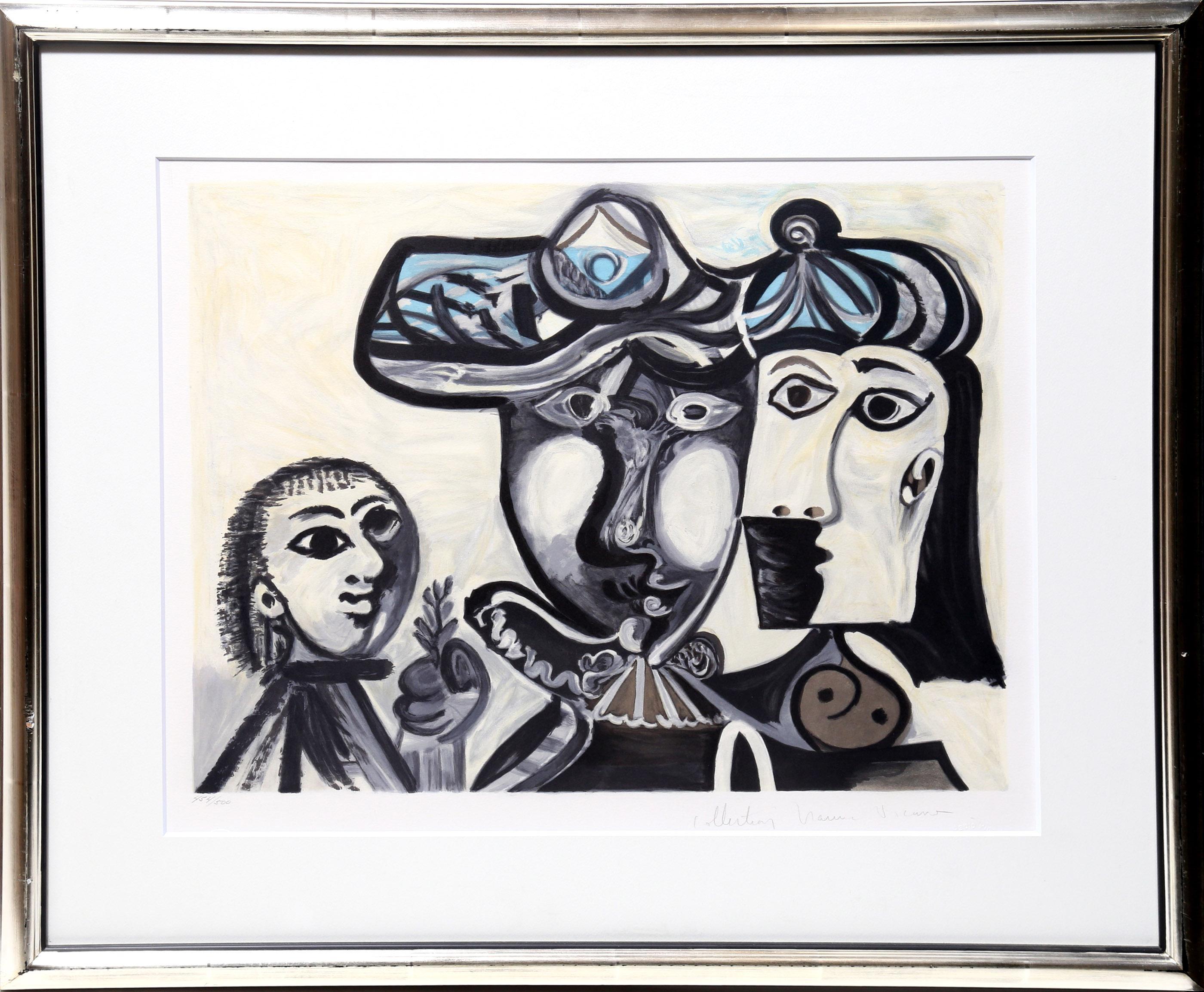 Pablo Picasso, Couple et Enfant au Rameau d'Olivier, Lithograph