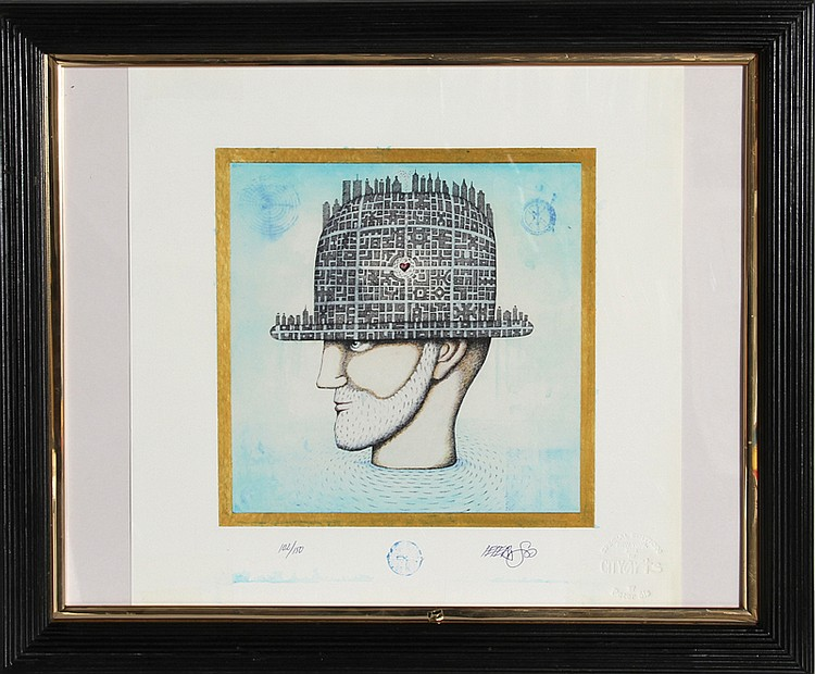 Peter Sis, Man in Hat, Silkscreen