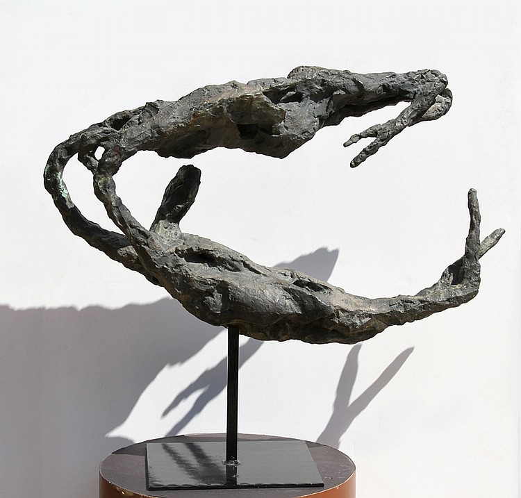Gerard Koch, Trapeze Artists, Bronze Sculpture