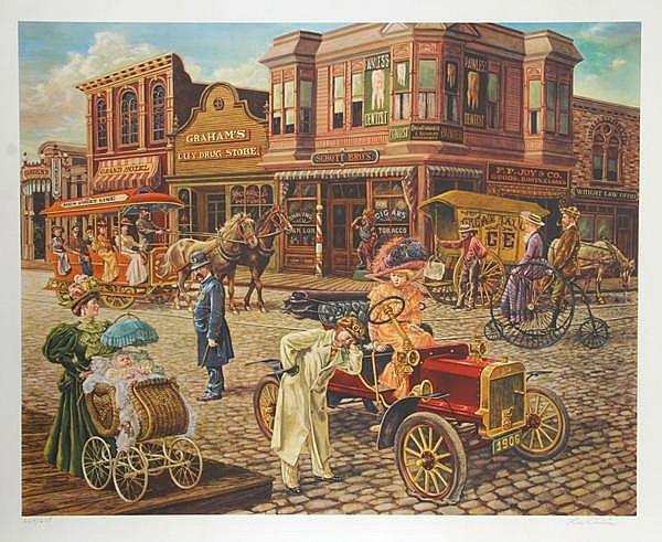 Lee Dubin, Main Street, Offset Lithograph