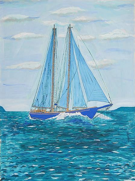 Biagio Civale, Sailboat 2, Acrylic Painting
