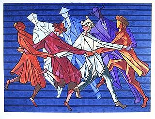 Chaim Goldberg, The Horah Dance, Lithograph