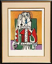 Pablo Picasso, Femme Assise a la Robe d'Hermine, Lithograph