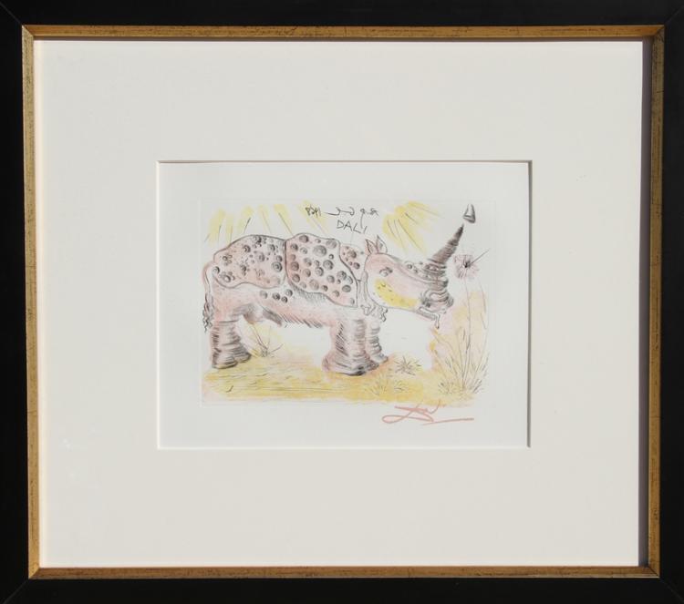 Salvador Dali, Rhinoceros, Restrike Etching