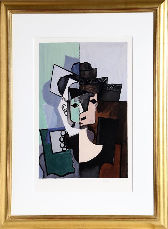 Pablo Picasso, Portrait de Face sur Fond Rose et Vert, Lithograph