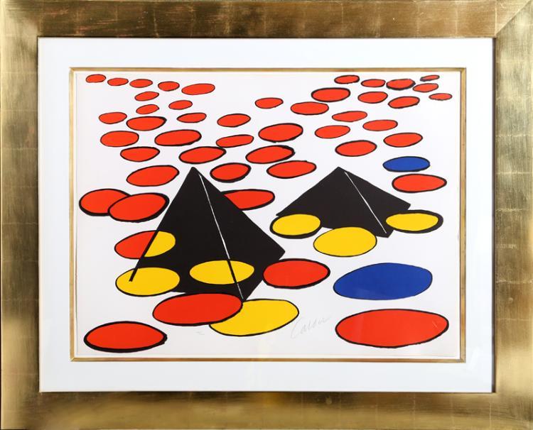 Alexander Calder, Black Pyramids, Lithograph