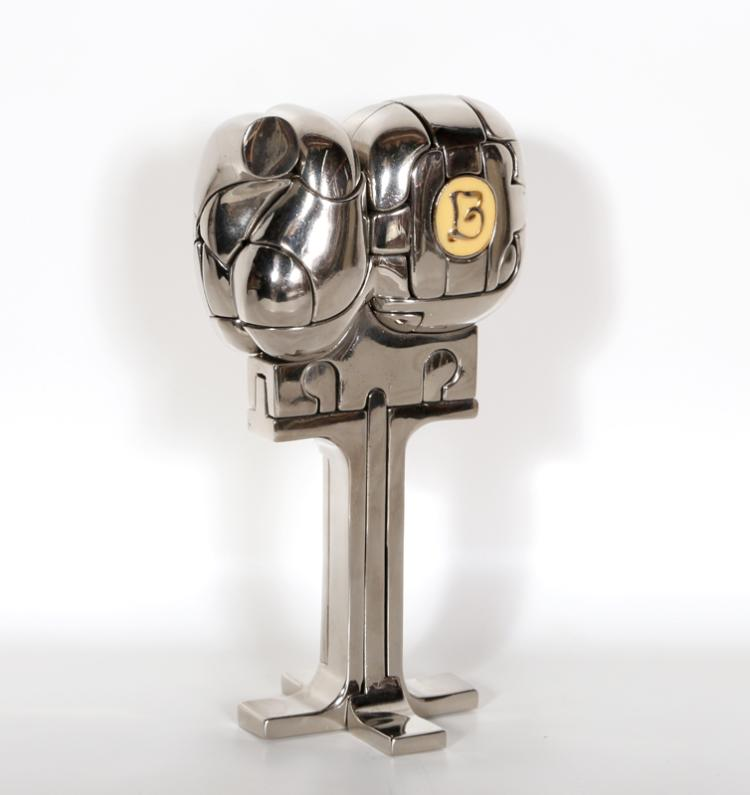 Miguel Berrocal, Mini Cristina, Nickel-Plated Bronze Puzzle Sculpture