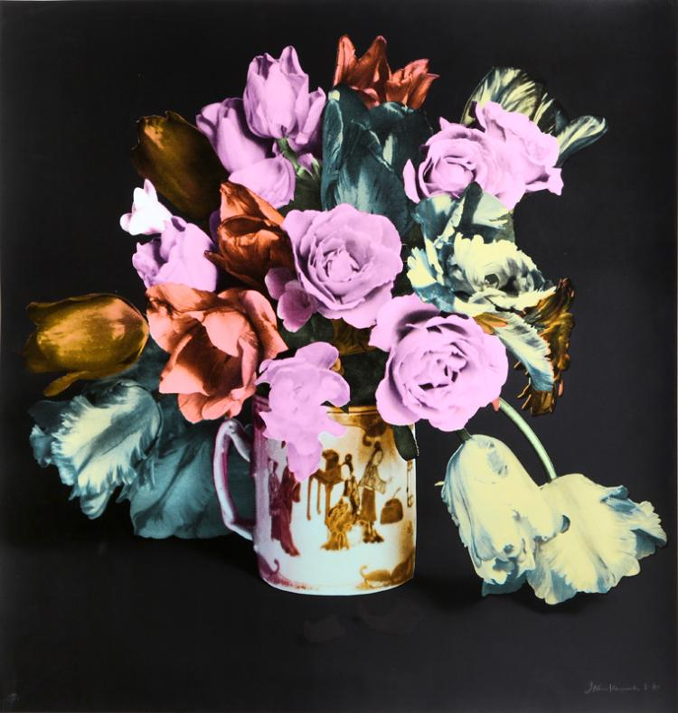 Francesco Scavullo, Tulips, Roses in Chinese Mug, Black, Screenprint