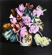 Francesco Scavullo, Tulips, Roses in Chinese Mug, Black, Screenprint