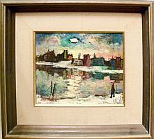 Harry Shoulberg, Cityscape, Oil Painting
