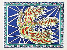 Edouard Dermit, Flying Peacock II, Lithograph #