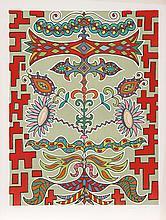 Edouard Dermit, Flowers on Pattern, Silkscreen #