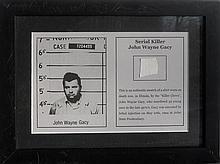 John Wayne Gacy, Piece of Shirt, Fabric Fragment affixed to Offset Lithograph