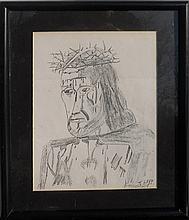 John Wayne Gacy, Jesus with Crown of Thorns, Pencil Drawing