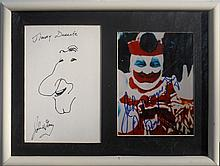 John Wayne Gacy, Jimmy Durante Sketch, Ink Drawing with Color Photograph