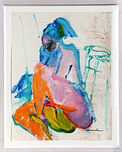 Isabel Gamerov, Nude Woman, Gouache Painting